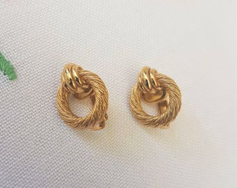 Christian Dior Vintage Rope Design Clip on Earrings 1980s