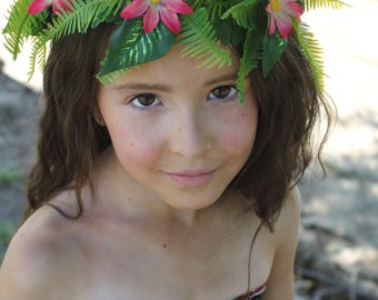 Moana Flower Crown | Moana Hair Piece | Tropical Flower Crown | Girl's Halloween Costume | Girl's Party and Dress Up | Moana Dress Up Crown