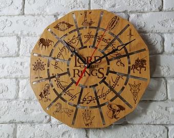 LOTR wood wall clock LOTR frodo JRR Tolkien Gandalf Gollum the shire Fellowship lord of the rings inspired tolkien art tolkien print