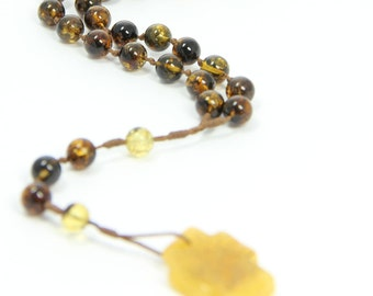 Amber Rosary Catholic Ambra Rosario Cross Necklace Beads Perfect Gift