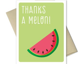 Thank you Cards - Greeting Cards - Thank you notes - Punny Cards - Food cards - Thank you card set - Thanks A Melon