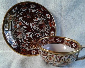 Beautiful Vintage Hand Made in Rhodes Greece and Hand Signed by Icaros Pottery Cup and Saucer