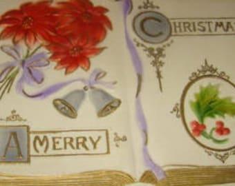 Nice Vintage Christmas Postcard,Poinsettias,Book