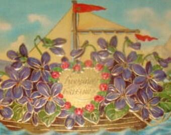 Pretty Embossed Vintage Fantasy/Floral Postcard (Boat Filled With Violets)
