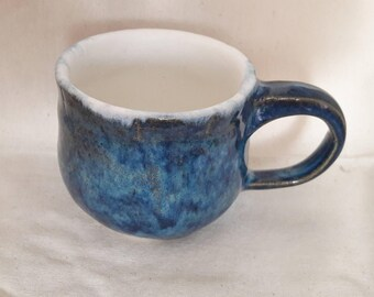 Small Blue & White Thrown Ceramic Cup Mug