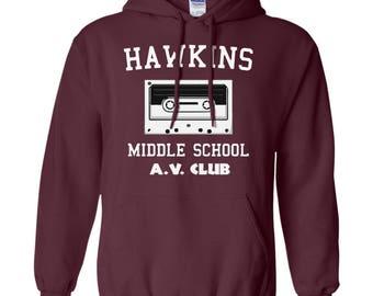Hawkins Middle School Hoodie Sweatshirt For Adults Kids Youth Plus Size, Stranger Things Long Sleeve Unisex Hoodie