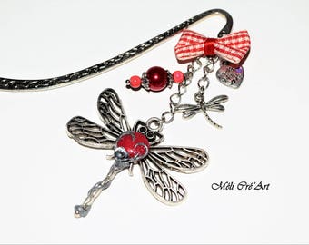 Bookmark silver red rose cabochon dragonfly