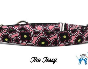 Pink Floral Dog/Cat Collar, Martingale collar, Martingale Buckle, Metal Buckle Dog Collar, The Tessy Custom Collar