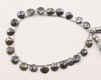 Mystic Coated Silverite Faceted   Heart Shape 8-9 MM, Side Drill / Top  Drill One Full Strand.