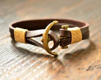 Anchor Bracelets Men's Bracelet Charm Bracelet for Him Chain Bracelet Brown Bracelet Leather Bracelet Gift