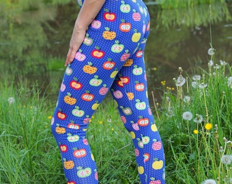 Colorful Apple blue leggings with small dots