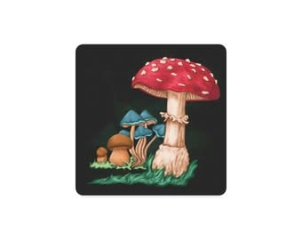 Coaster mushrooms - print art - digital painting - mushrooms - assorted styles gift - gift for him - free shipping