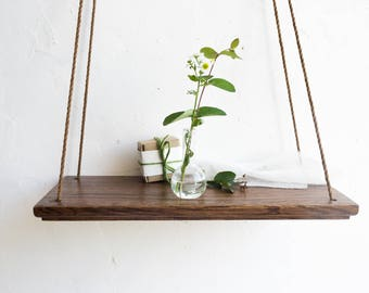 Hanging Shelf, Plant Shelves, Wood Wall Shelves, Wall Plant Holder, Decorative  Wall