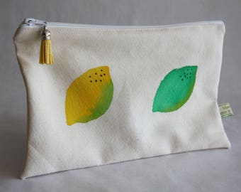 Clutch bag / pencil case lemon hand-painted on organic cotton weaved in France