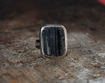 black tourmaline ring,925 silver ring,gemstone ring,tourmline ring,natural black tourmaline ring