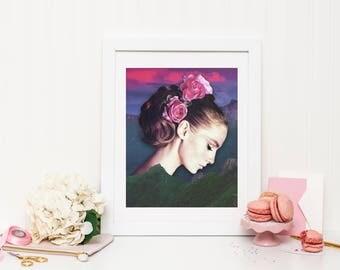 Mountain Print, Mountain Wall Art, Mountain Poster, Sunset Print, Sunset Wall Art, Sunset Poster, Vintage Woman Print, Vintage Woman Poster