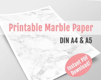 Printable Marble Paper Dotted, DIN A4, A5 | Instant PDF Download | Marble Pages with Dot Grid | Planner Inserts | Sheets for Bullet Journal