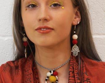 Red, Yellow and White Hamsa Choker and Earring Set