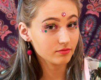 Pink Pom Pom Spike Earrings