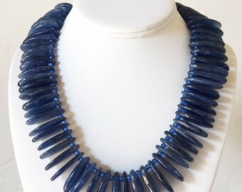 AAA Kyanite Statement Necklace with Sterling Silver Hook and Eye Clasp