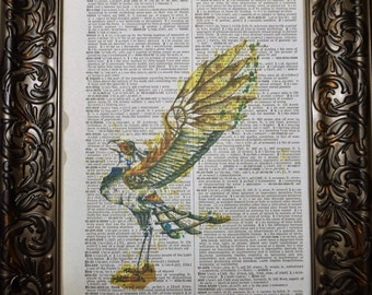 Steampunk Mechanical Bird Dictionary Art Print,
