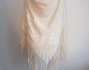 Antique Edwardian Silk Cream Oyster Floral Flower Embroidered Piano Shawl with Tassels Scarf Wrap 1920's Flapper