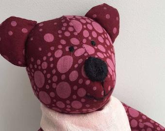 Memory teddy bear with linen pink shawl, Baby sleeper Cuddly Softie teddy bear, Handmade Soft Cotton toy, Stuffed Animal, Babyshower gift