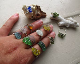 sea glass wire wraped ring , sea glass ring, wire wrapped ring ,beach glass,summer jewelry
