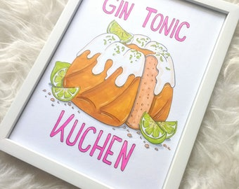 "Original illustration with frame-""Gin tonic Cake"""