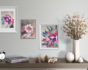 Pink and Blue Wall Decor, Pink Flower Printable Set, Dining Room Gallery Wall, Apartment Gallery Wall, Painting Printable Set, XL Printable