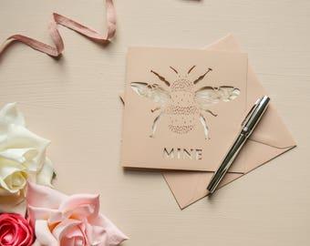 Bee Mine Papercut Valentine Card Rose Gold Greetings Card