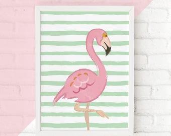 Pink Flamingo Print, Flamingo Nursery Wall Art Gift, Tropical Prints, Flamingo Dorm Decor, Flamingo Bedroom Wall Art, Tropical Party Decor