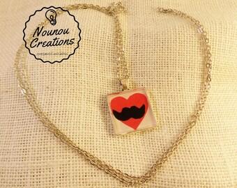 """Long Necklace """"I Love moustache"""" resin pendant"""