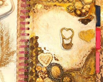 Hand Painted Gold Unique Jewelry Spiral Notebook/ Refillable / White / Gold Writing Journal / Guestbook / Graduation / Diary / Gift For Her