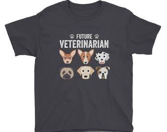 Future Veterinarian Vet Animal Dog Lover Kids Boys Girls Youth Short Sleeve T-Shirt