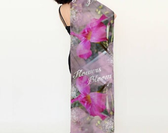 "Satin Charmeuse Long Scarf, Flowers Bloom, 72"" by 16''"