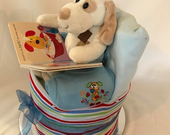 Patch the Dog Reading Nappy Cake