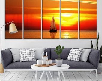 Wall Art See View Beach Canvas Print,  Large Wall Art Canvas Print, Sea Wall Art Canvas Print, Extra Large Wall Art Sunset, 5 Panel Wall Art