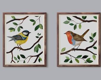 Zestaw dzikich ptaków, Set of wild birds - illustration - print