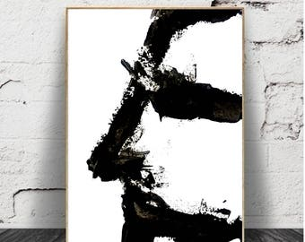 abstrait Print, Minimalist, Contemporary Art, Wall Decor, Printable Wall Art, Black and White Decor, Modern Art, Abstract Nature Print