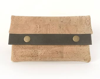 Natural and Black Cork Leather Minimalist Wallet