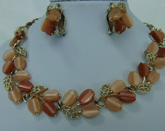 Lisner, Vintage 1950 to 1960, Demi Parure, Necklace, Earrings, Shipped Free.