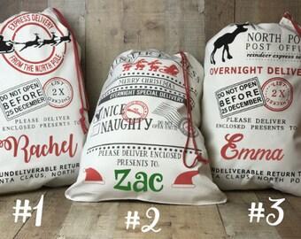Personalized Santa sack, personalized Christmas bag, North Pole bag, Santa bag, Santa tote, Santa delivery, Christmas bag, Santa Claus