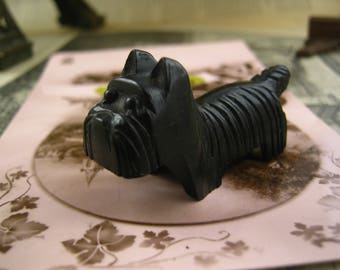 Vintage Miniature Black bakelite Scottie Dog Pencil Sharpener