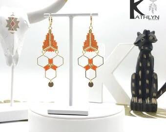 Great MAYA orange and gold earrings