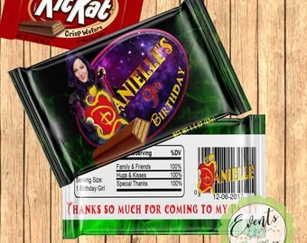 Descendants 2 Custom Candy Bar Wrapper, Descendants Candy Bar Wrapper, Descendants Favors, Custom Favors - PRINTED & SHIPPED