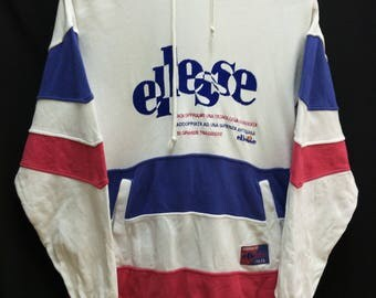 Vintage ELLESSE Sweatshirt Hoodie//Spellout Embroidered//Size S Jaspo//Made In Japan