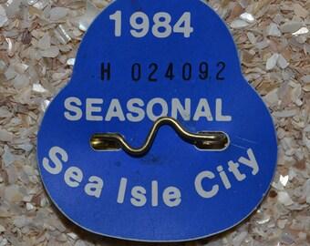 """1984 Canvas Print 14""""x14"""" Sea Isle City Beach tag"""