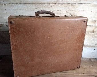 Rustic Leather Luggage Suitcase  1900s , Leather Handle, Lever Locks, Stage Props