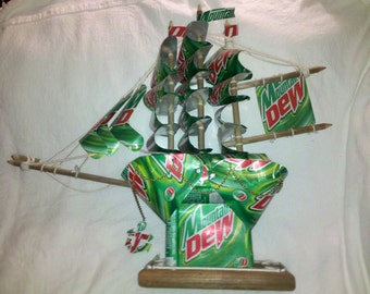 Mountain Dew Can Sculpture Sail Boat